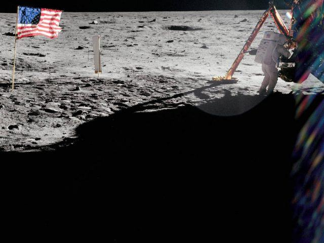 A photo by Buzz Aldrin shows Neil Armstrong during the first moon landing
