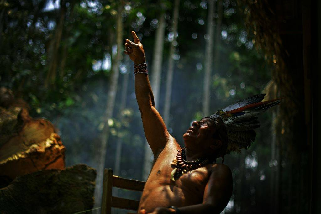 Chief Marcelino Apurina in the Amazon rainforest