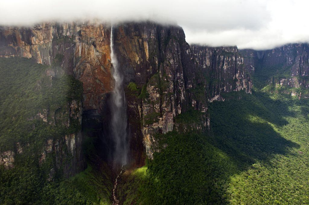 Aerial view taken on December 16, 2014, of the Angel Falls