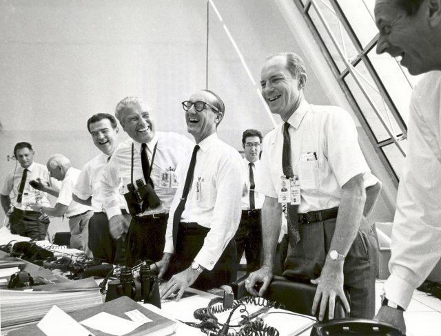Apollo 11 Mission Official Relax After Apollo 11 Liftoff