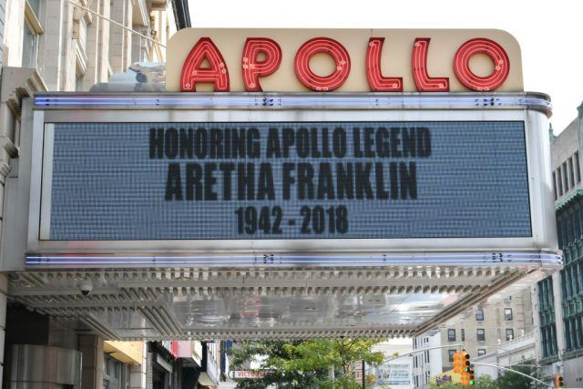 A view of the marquee as Aretha Franklin is remembered at the Apollo Theater on August 16, 2018 in New York City. Franklin passed away on August 16, 2018 at the age of 76.