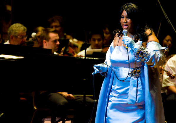 Aretha Franklin performs with the Philadelphia Orchestra at the Mann Center for Performing Arts on July 27, 2010