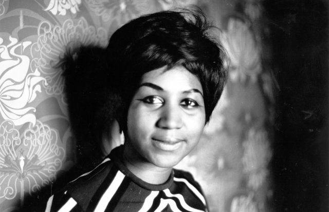 American soul singer Aretha Franklin, a star on the Atlantic record label