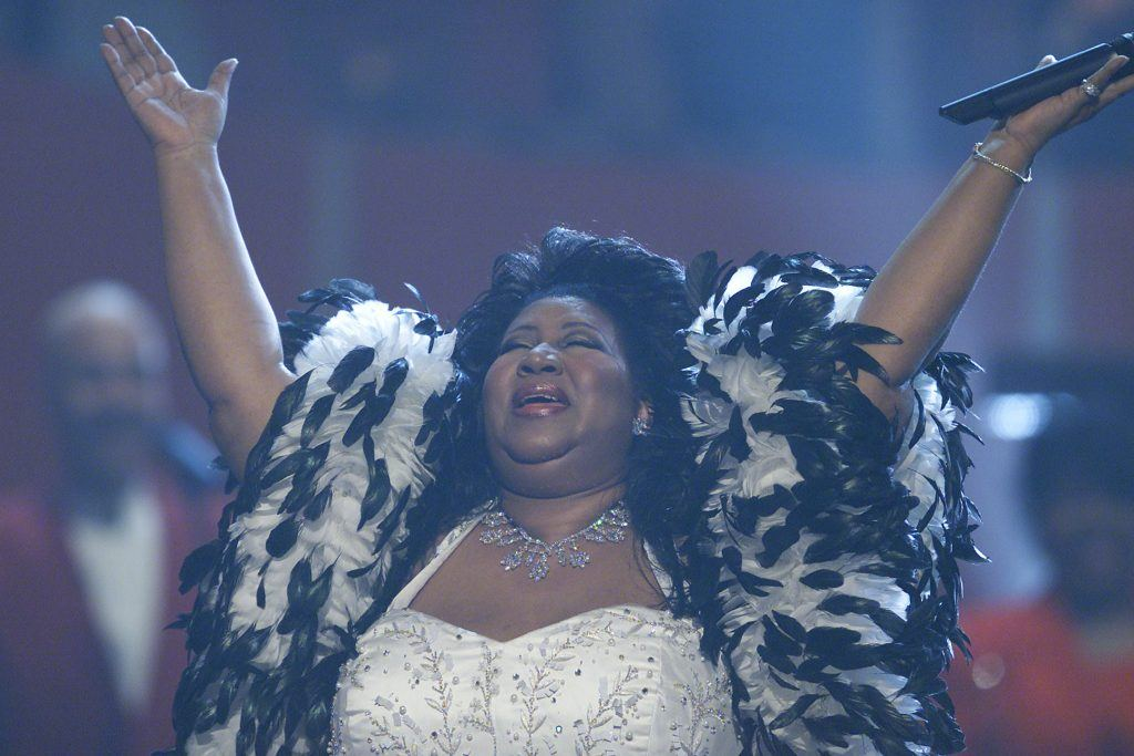 Aretha Franklin onstage performing at 'VH1 Divas Live: The One and Only Aretha Franklin' held at Radio City Music Hall in New York City on Tuesday, April 10, 2001
