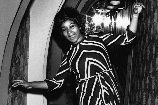 American soul singer Aretha Franklin dancing for the cameras