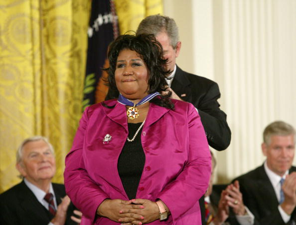 Aretha L. Franklin and President George W. Bush at the Freedom Awards Ceremony at the White House in Washington D.C. on November 9, 2005