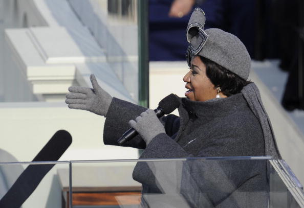 US singer Aretha Franklin performs during the inauguration of President Barack Obama at the Capitol in Washington on January 20, 2009