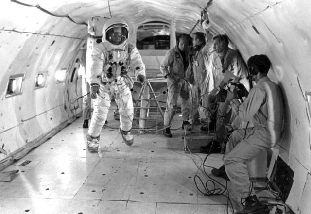Buzz Aldrin trains under weightless conditions for the first moon landing