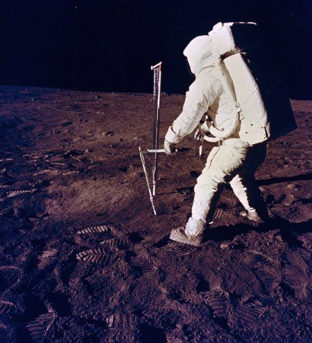 Buzz Aldrin uses the core sampler on the first moon landing