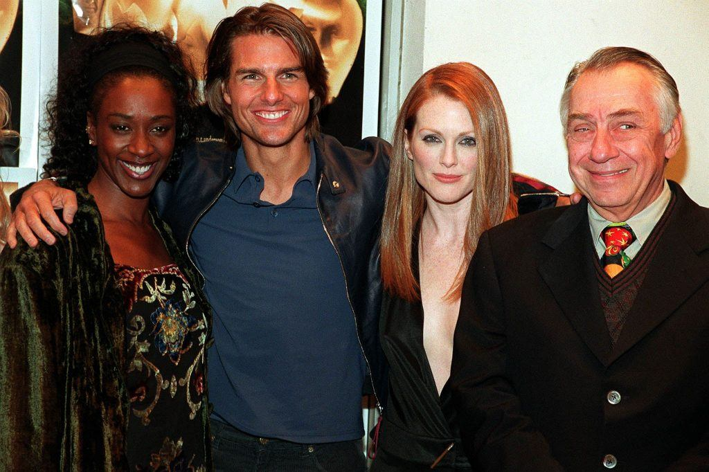 """The cast of the film """"Magnolia"""" pose at the film's premiere"""