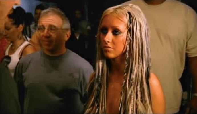 Christina Aguilera while making a music video