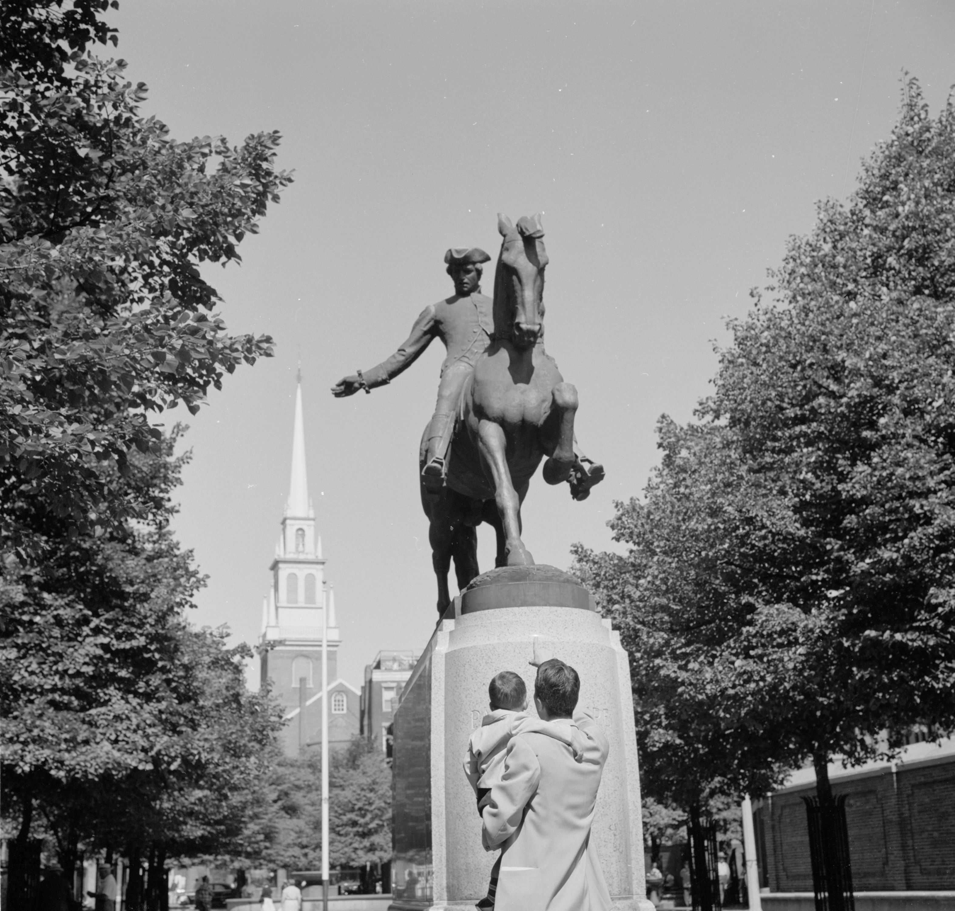 Revere Monument and Old North Church, Boston