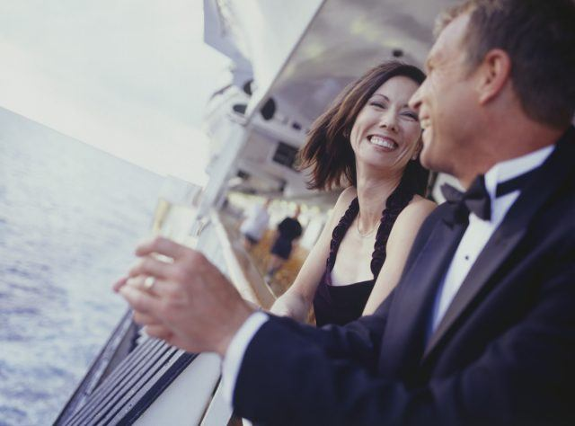 Couple dressed up for a formal night on a cruise