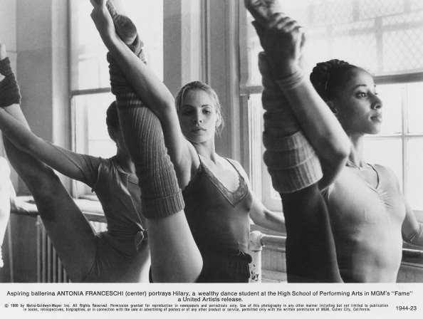 Actress and dancer Antonia Franceschi (center) as dance student Hilary van Doren in a scene from 'Fame'