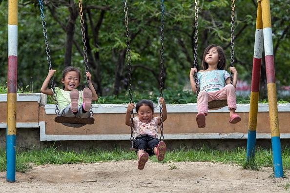 Children playing in North Korea