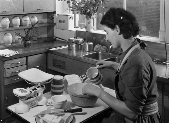 woman mixes ingredients