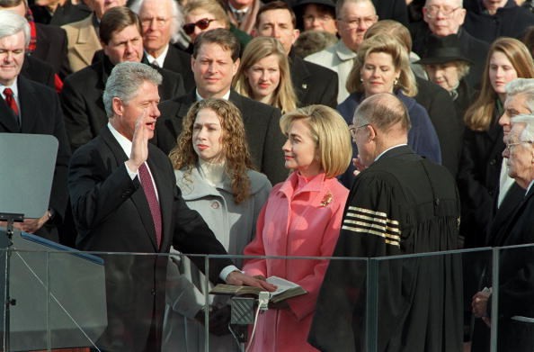Bill Clinton is sworn in for a second term