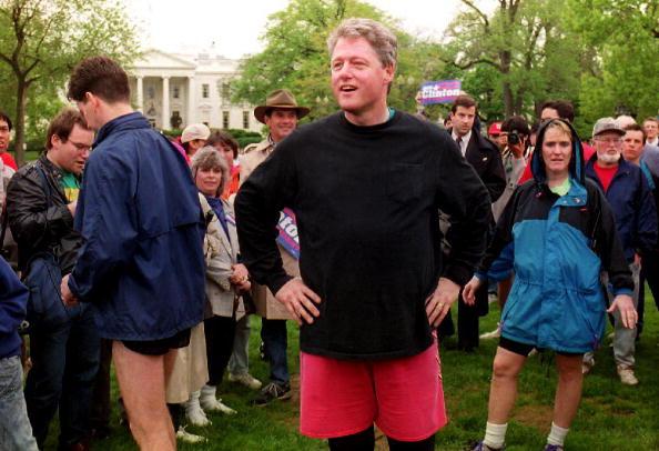 President Clinton goes for a run