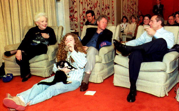 President Clinton watching the Super Bowl