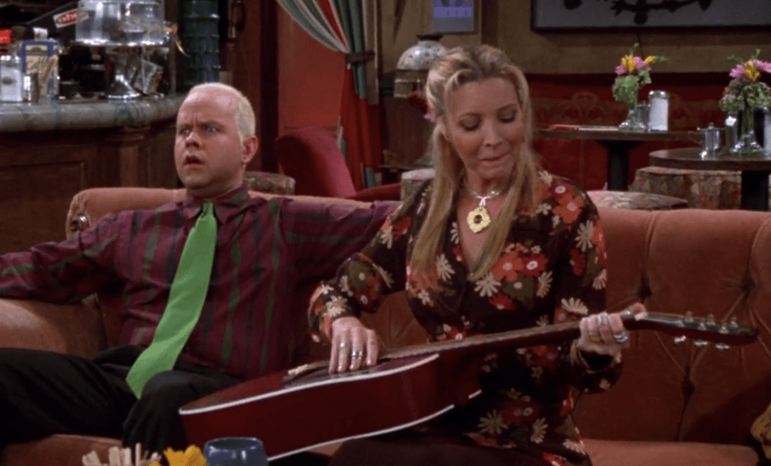 Gunther (James Michael Tyler) and Phoebe (Lisa Kudrow) on Friends