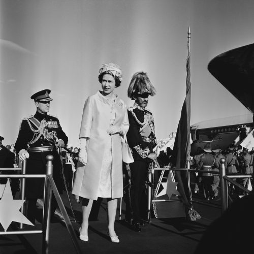 Haile Selassie greets Queen Elizabeth II and Prince Philip as they arrive in Ethiopia