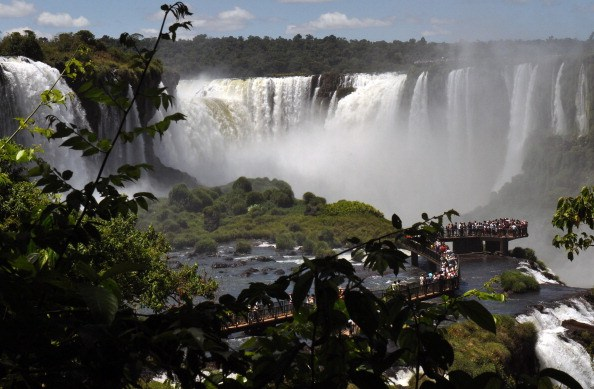 Tourists enjoy the Iguazu Falls