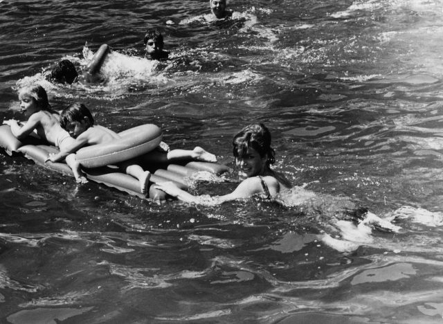 Jackie Kennedy and her daughter Caroline on holiday in Italy at the home of her sister Princess Lee Radziwill
