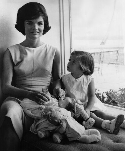 Jacqueline and Caroline Kennedy relax at home
