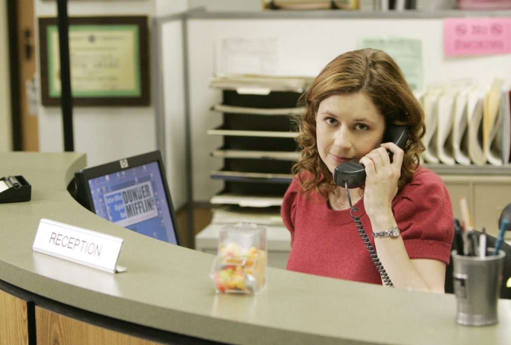 Actor Jenna Fischer in character as Pam Beesly on set of 'The Office'