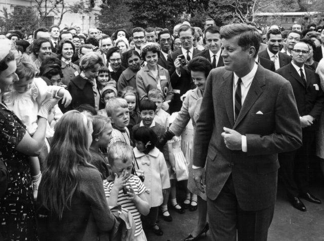 John F. Kennedy greets wellwishers during a ceremony