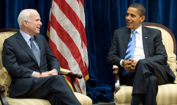 Barack Obama meets with former Republican presidential candidate Arizona Senator John McCain at Obama's transition offices in Chicago on November 17, 2008