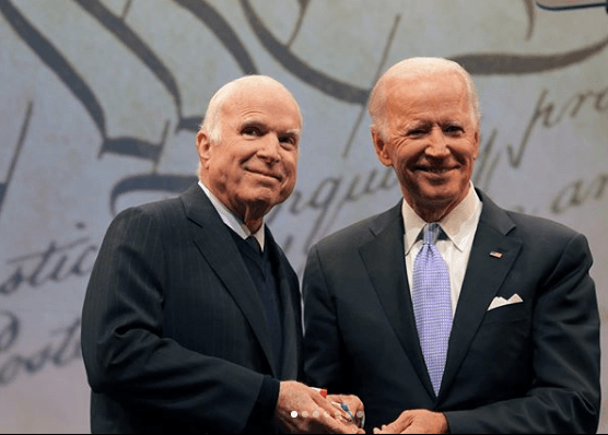 John McCain receiving the National Constitution Center's 2017 Liberty Medal from Joe Biden