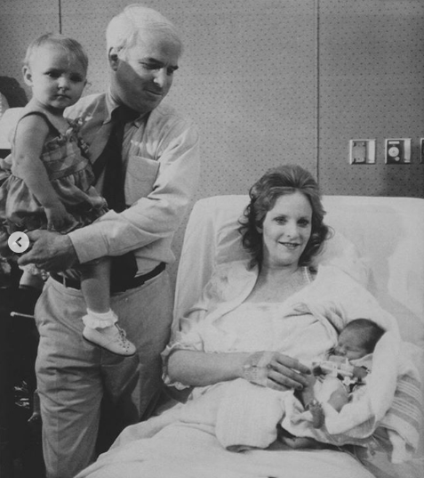 John McCain with his daughter and wife right after his wife gave birth