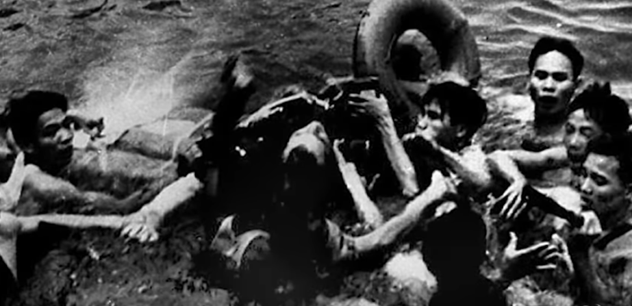 John McCain after he crashed in Vietnam