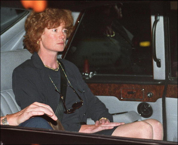 A sombre-looking Lady Jane Fellows, a sister of Diana, Princess of Wales, arrives by car at Kensington Palace