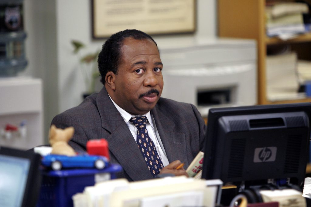 Actor Leslie David Baker in character as Stanley Hudson on the set of the 'The Office'