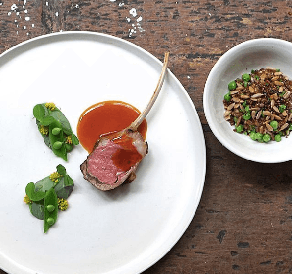 Matt Lambert's lamb with peas and grains