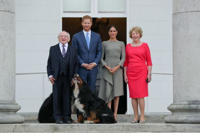 Britain's Prince Harry (2L) and wife Meghan (2R), Duke and Duchess of Sussex pose with Ireland's President Michael Higgins (L) and wife Sabina on arrival at the Presidential mansion on the second day of their visit in Dublin on July 11, 2018