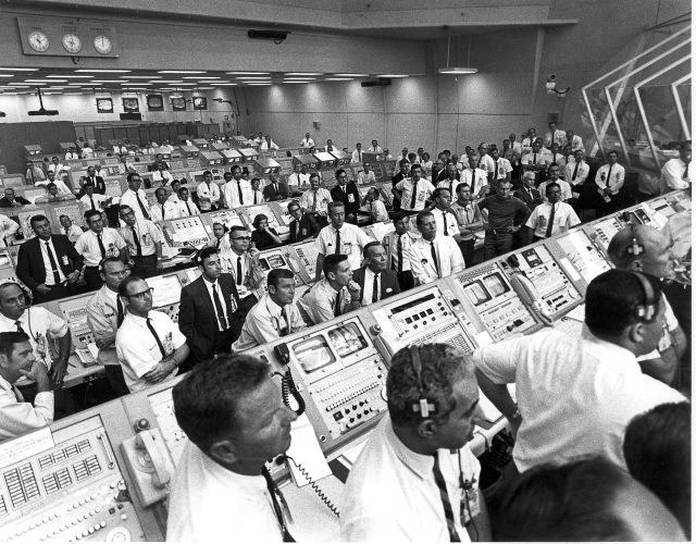 Members of the Kennedy Space Center control room at the Apollo 11 launch