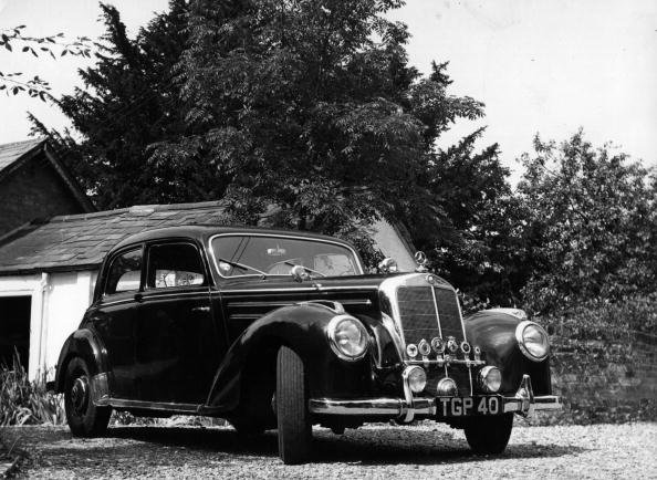 A Mercedes 220 saloon first introduced at the Motor Show in 1951.