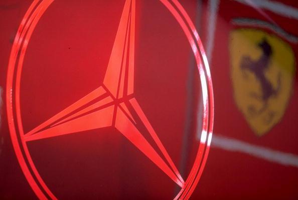 Mercedes and Ferarri logos