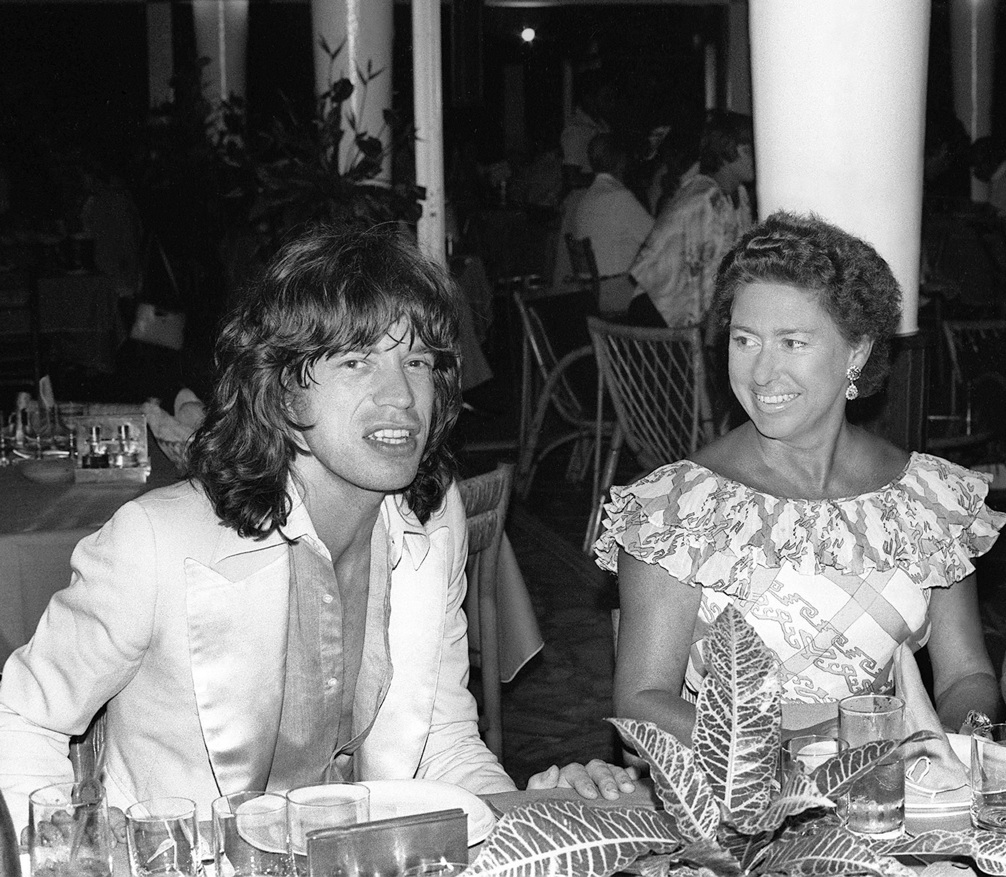 Mick Jagger 1976 with Princess Margaret
