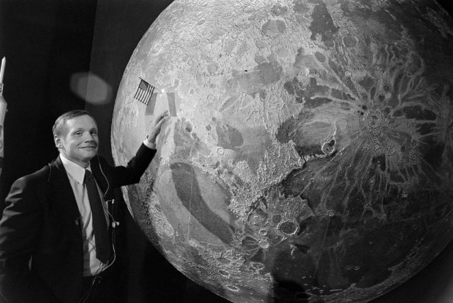 Neil Armstrong poses during a talk show years after the first moon landing