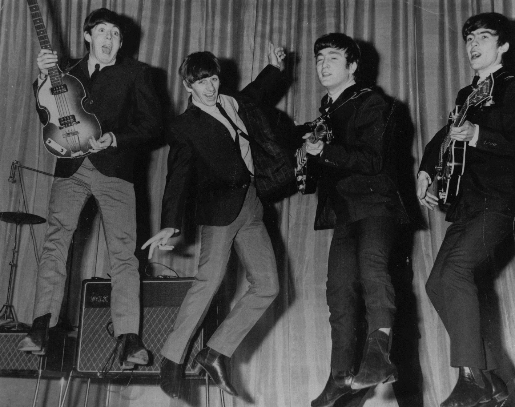 The Beatles rehearsing at the Prince of Wales Theatre for their Royal Variety Performance.