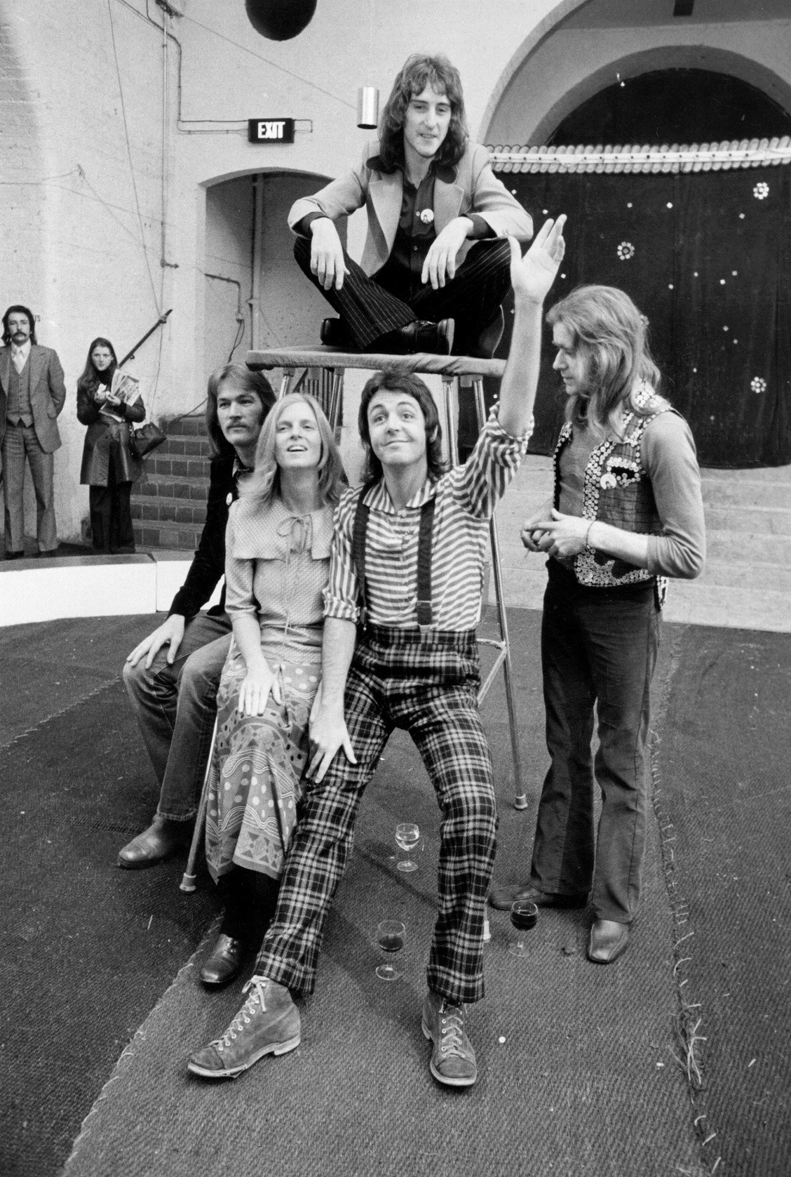 Paul McCartney with his wife Linda and their pop group Wings.