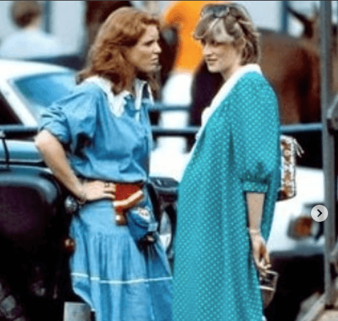 Pregnant Princess Diana and Duchess Sarah Ferguson