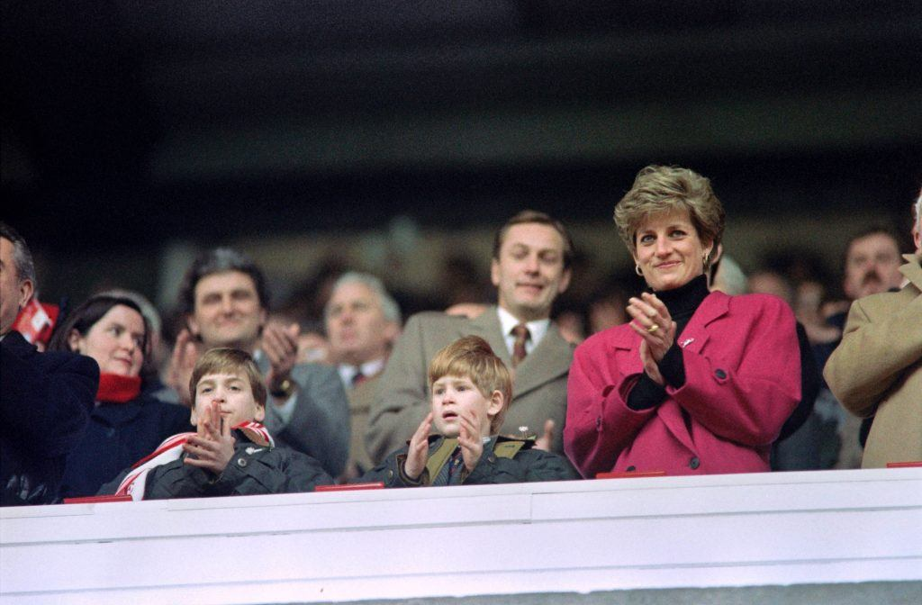 Prince William, Prince Harry, and Princess Diana attend a rugby match