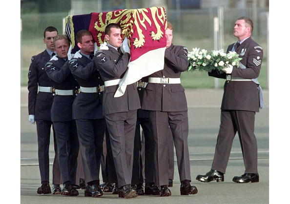 The coffin of Diana, Princess of Wales is carried off a plane of the Royal Squadro