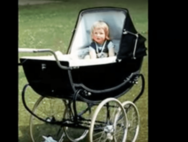 Princess Diana in a baby carriage