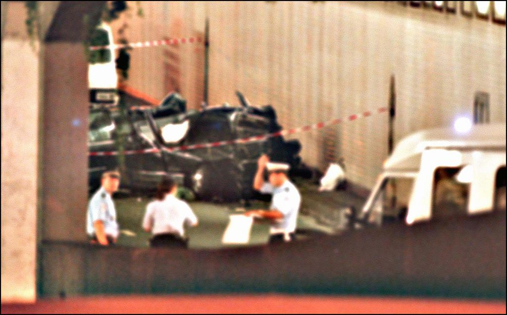 The wreckage of Princess Diana's car lies in a Paris tunnel 31 August